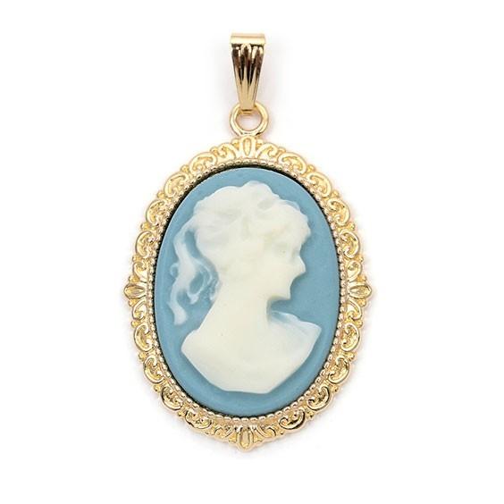 Pendentif camée dentelle  bleu plaqué or - GM - La Petite Française