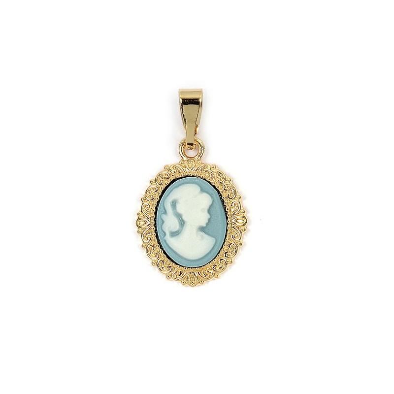 Pendentif camée dentelle bleu plaqué or - PM - La Petite Française
