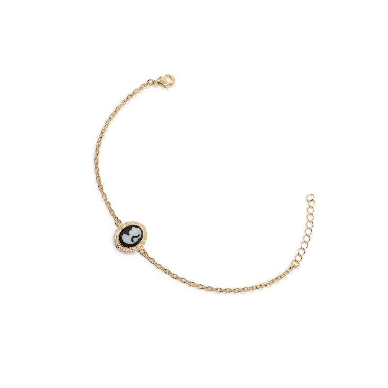 Bracelet camée noir dentelle plaqué or - La Petite Française