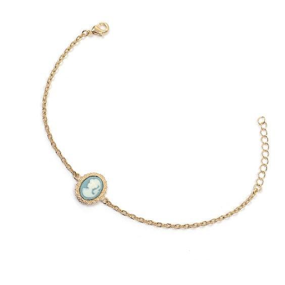 Bracelet camée bleu dentelle plaqué or - La Petite Française