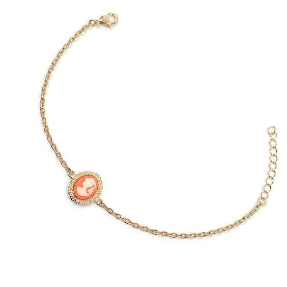 Bracelet camée corail dentelle plaqué or - La Petite Française