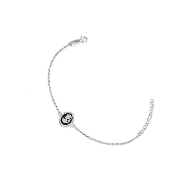 Bracelet camée noir dentelle argent - La Petite Française