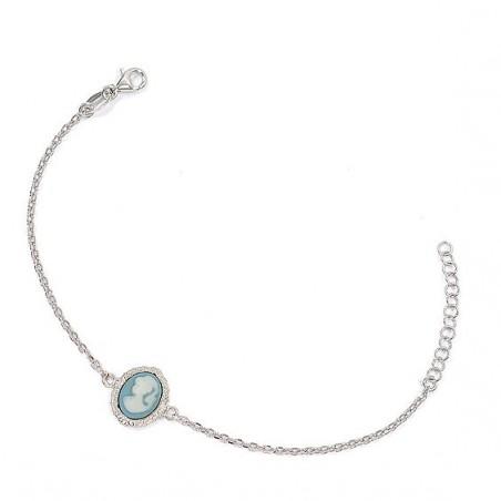 Bracelet camée bleu dentelle argent - La Petite Française