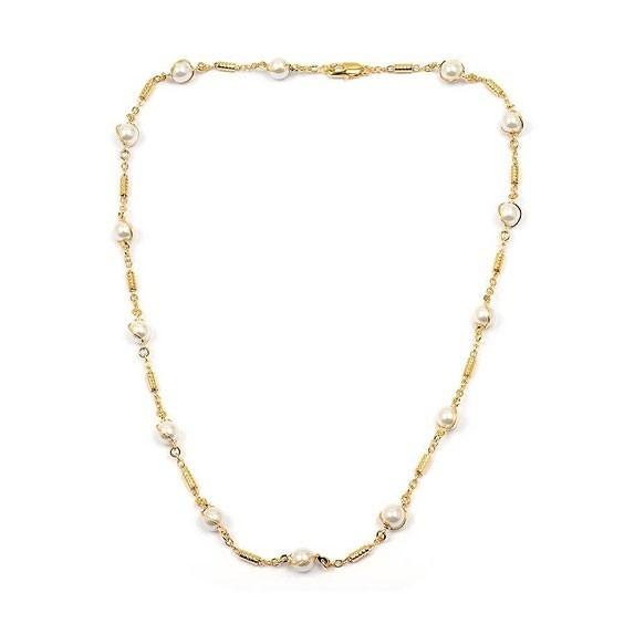 Collier tubes et 6 perles en plaqué or -  Bijouterie La Petite Française