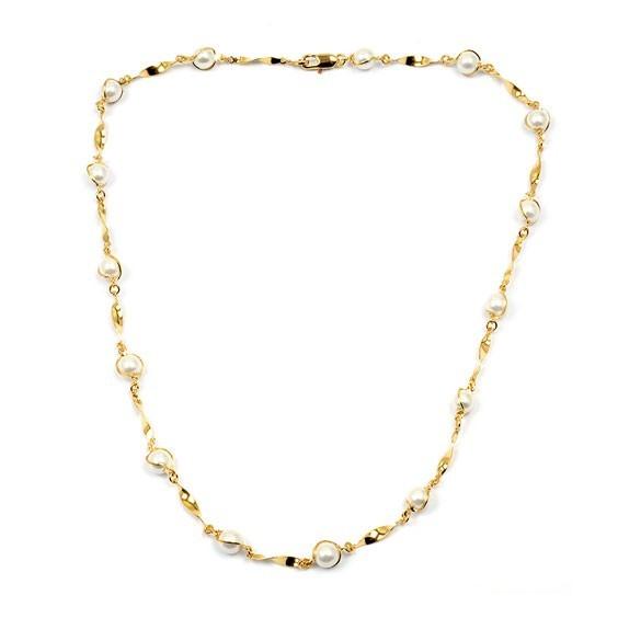 Collier torsades en plaqué or avec perles -  Bijouterie La Petite Française
