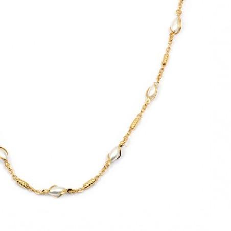 Collier perles ovales en plaqué or -  Bijouterie La Petite Française