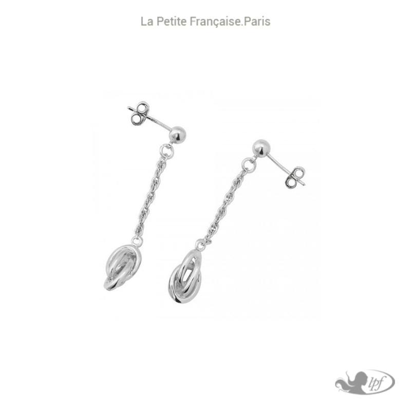 Boucles d'oreilles pendantes forçat argent - La Petite Française
