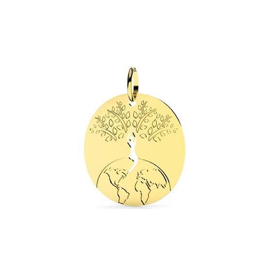 Pendentif monde et arbre de vie Or 9 carats jaune - 22 MM - La petite Française