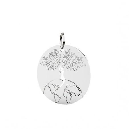 Pendentif monde et arbre de vie Or 18 carats gris - 25 MM - La petite Française