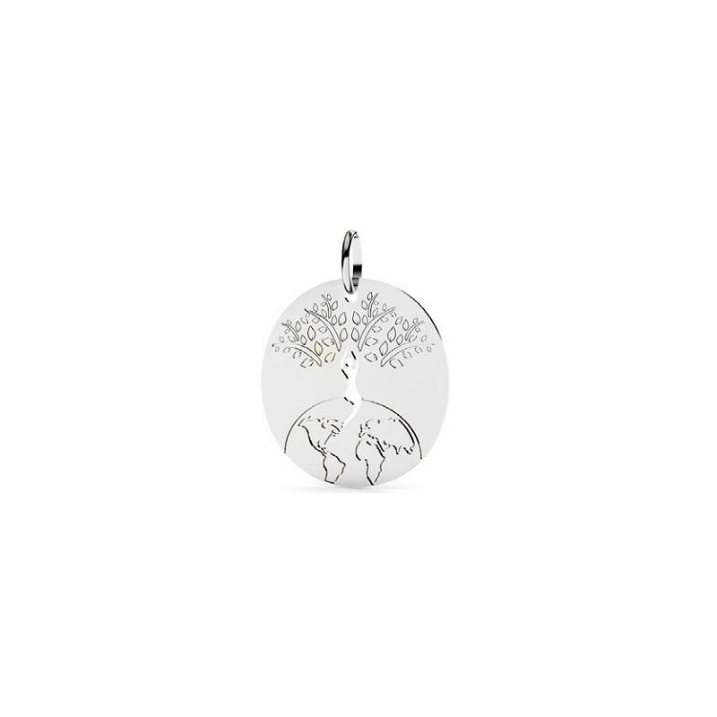 Pendentif monde et arbre de vie Or 9 carats gris - 22 MM - La petite Française