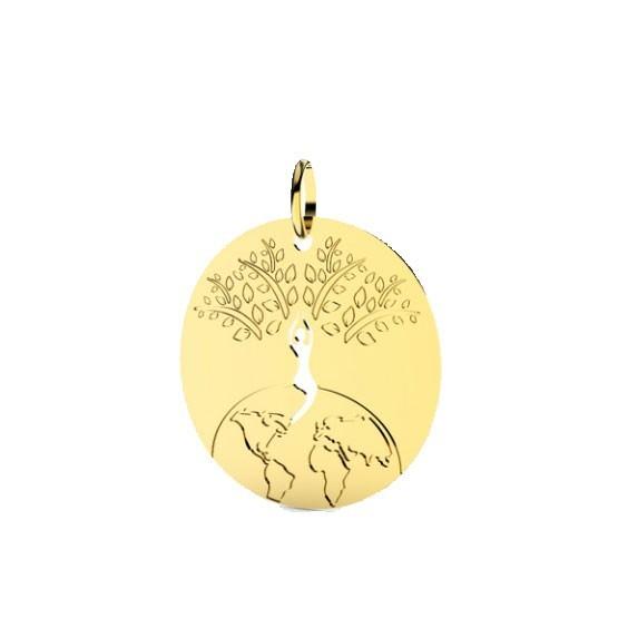 Pendentif monde et arbre de vie Or 9 carats jaune - 25 MM - La petite Française