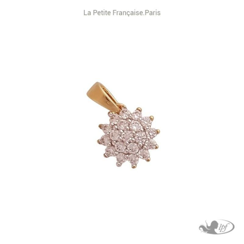 Pendentif fleur vintage plaqué or et zirconiums - La petite Française