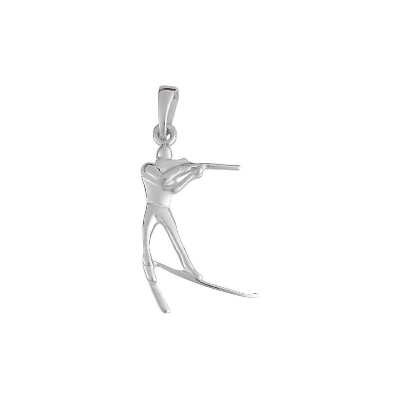 Pendentif skieur biathlon Or 9 carats gris  - La Petite Française