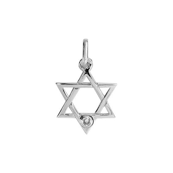 Pendentif Etoile de David diamant Or 9 carats gris  - La Petite Française
