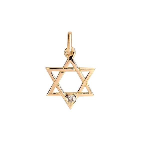 Pendentif Etoile de David diamant Or 9 carats jaune  - La Petite Française