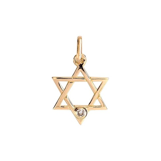 Pendentif Etoile de David diamant Or 18 carats jaune  - La Petite Française