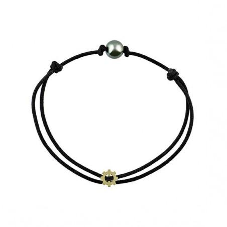 Bracelet cordon perle noire Or 9 carats jaune  - La Petite Française