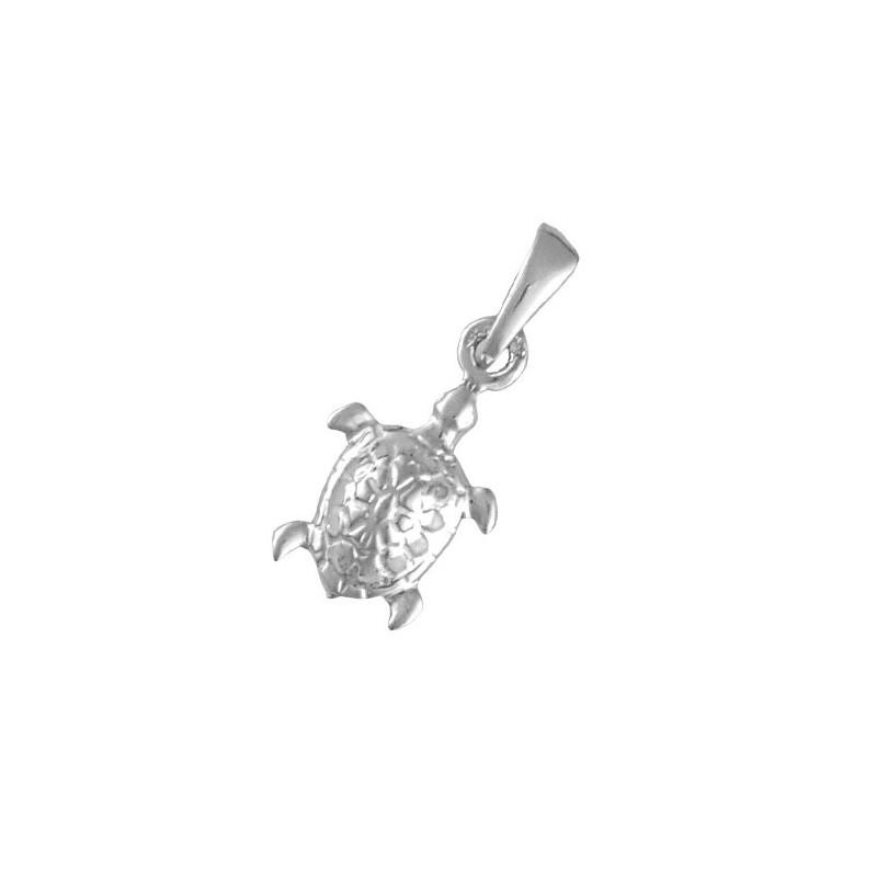 Pendentif tortue de mer Or 9 carats gris - 21 MM  - La Petite Française