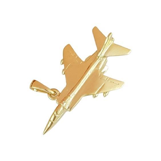 Pendentif avion de chasse plaqué or  - La Petite Française