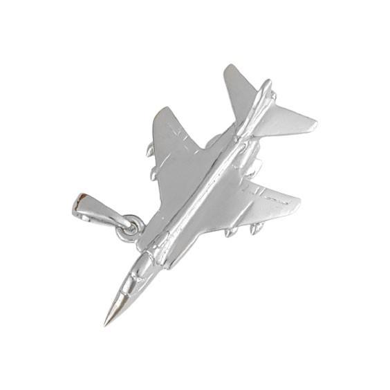 Pendentif avion de chasse Or 9 carats gris  - La Petite Française