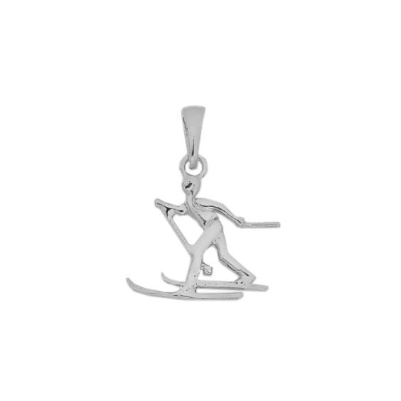 Pendentif skieur de fond Or 9 carats gris  - La Petite Française