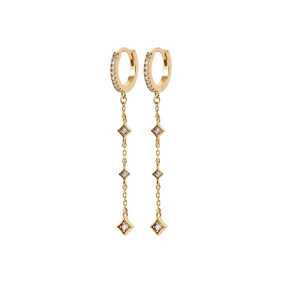 Créoles pendantes Fallon losange plaqué or  - La Petite Française