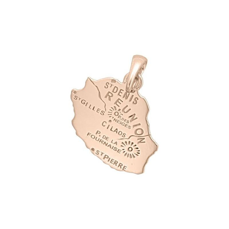 Pendentif carte la Réunion Or 18 carats rose  - La Petite Française