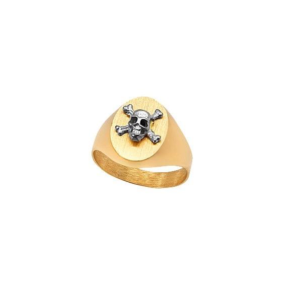 Chevalière tête de mort grise ovale Or 9 carats jaune  - La Petite Française