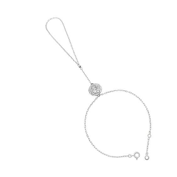 Parure de main médaille ange Gabriel Or 18 carats gris  - La Petite Française