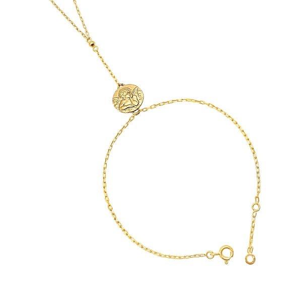 Parure de main médaille ange Gabriel Or 9 carats jaune  - La Petite Française