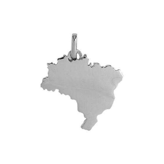 Pendentif carte Brésil argent  - La Petite Française